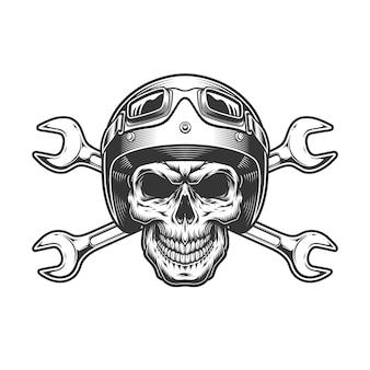 Crânio de motociclista vintage no capacete de moto