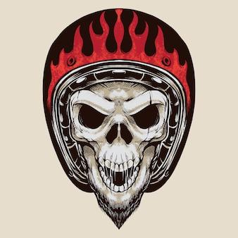 Crânio de motociclista vintage