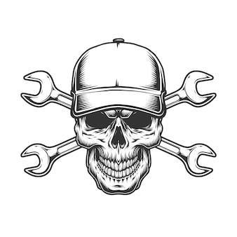 Crânio de motorista de caminhão em boné de beisebol