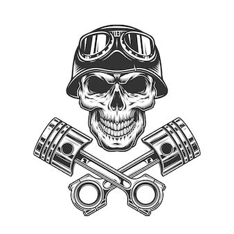 Crânio de motorista de moto monocromático vintage