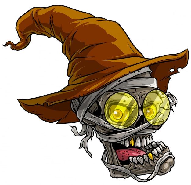 Crânio de múmia assustador realista dos desenhos animados com chapéu