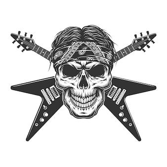 Crânio de músico de rock monocromático vintage