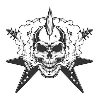 Crânio de músico de rock vintage com moicano