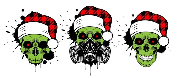 Crânio de natal com chapéu de papai noel e máscara de gás