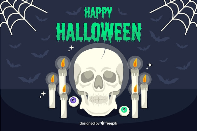 Crânio de ocultista e velas fundo halloween