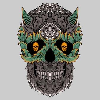 Crânio de ornamento floral com desenho de mão de chifre
