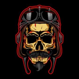 Crânio de ouro com ilustração de capacete de piloto