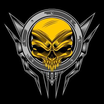 Crânio de ouro em círculo