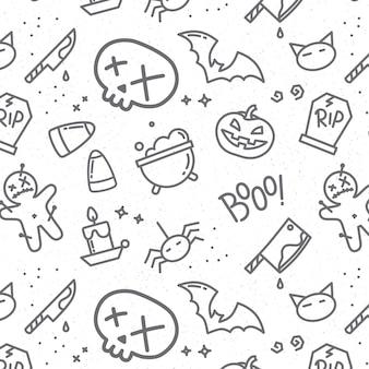 Crânio de padrão plana de halloween