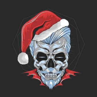 Crânio de papai noel de natal
