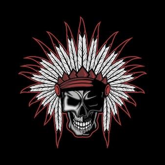 Crânio de penas indianas nativas americanas
