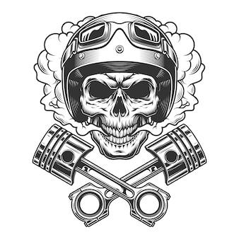 Crânio de piloto de moto na nuvem de fumaça