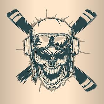 Crânio de piloto vintage, monocromático mão desenhada estilo tatoo
