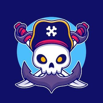 Crânio de pirata com ilustração de desenho animado de âncora