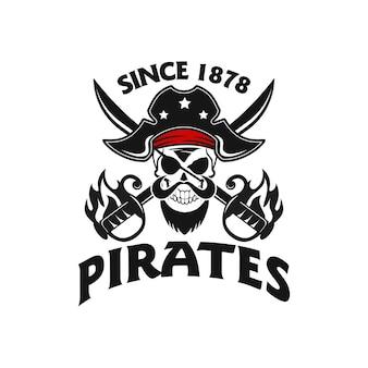 Crânio de pirata com logotipo de duas espadas cruzadas