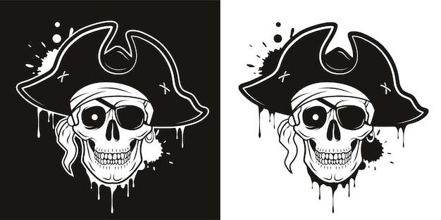 Crânio de pirata com tapa-olho, chapéu bandana olho brilhante