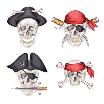 Crânio de pirata de perigo definido na bandana e chapéu para tatuagem