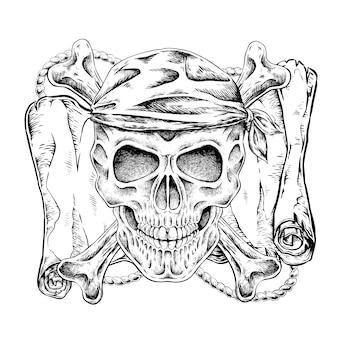 Crânio de pirata desenhado à mão em estilo requintado