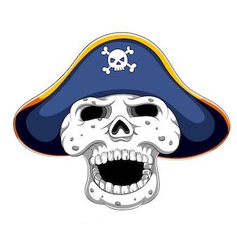 Crânio de pirata e chapéu armado