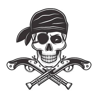 Crânio de pirata em bandana com tapa-olho e ilustração de duas pistolas cruzadas
