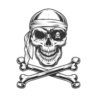 Crânio de pirata monocromático vintage