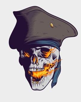 Crânio de pirata que respira fogo