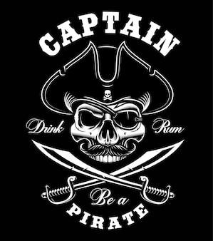 Crânio de pirata vintage em fundo escuro. ilustração. o texto está na camada separada.