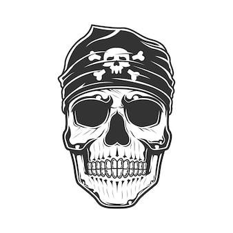 Crânio de piratas com bandana na cabeça.