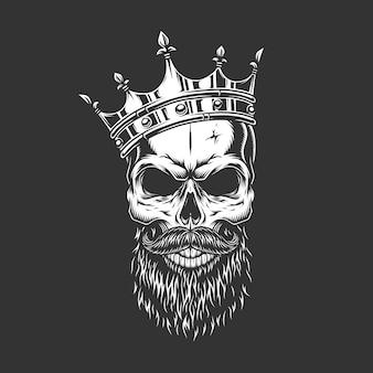 Crânio de príncipe monocromático vintage na coroa