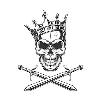 Crânio de príncipe vintage na coroa