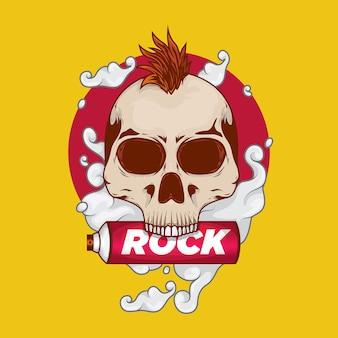 Crânio de punk rock com spray