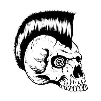 Crânio de punk rock desenhado à mão com gráfico de slogan para impressão de camisetas e outros usos em preto e branco