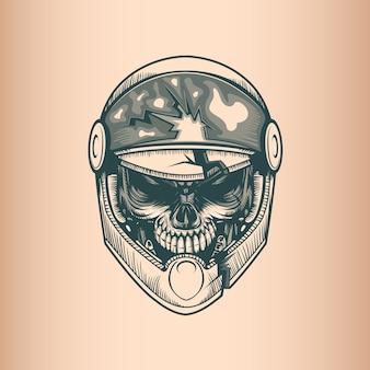 Crânio de racer vintage, monocromático mão desenhada estilo tatoo