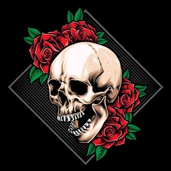 Crânio de raiva com logotipo de rosas