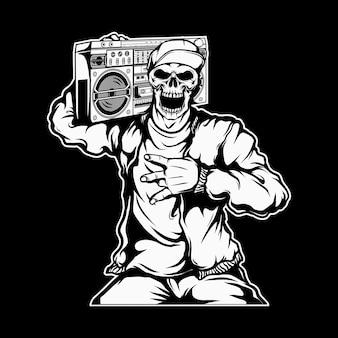 Crânio de rapper segurando um boombox