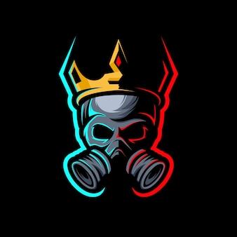 Crânio de rei com coroa, mascote de jogos de logotipo esport.