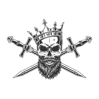 Crânio de rei monocromático vintage na coroa