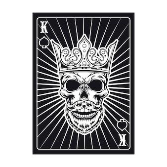 Crânio de rei preto no cartão de jogo. pá
