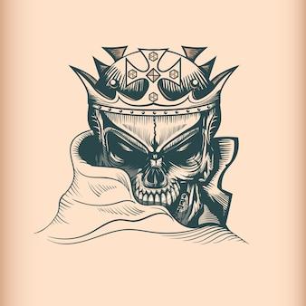Crânio de rei vintage, monocromático mão desenhada estilo tatoo