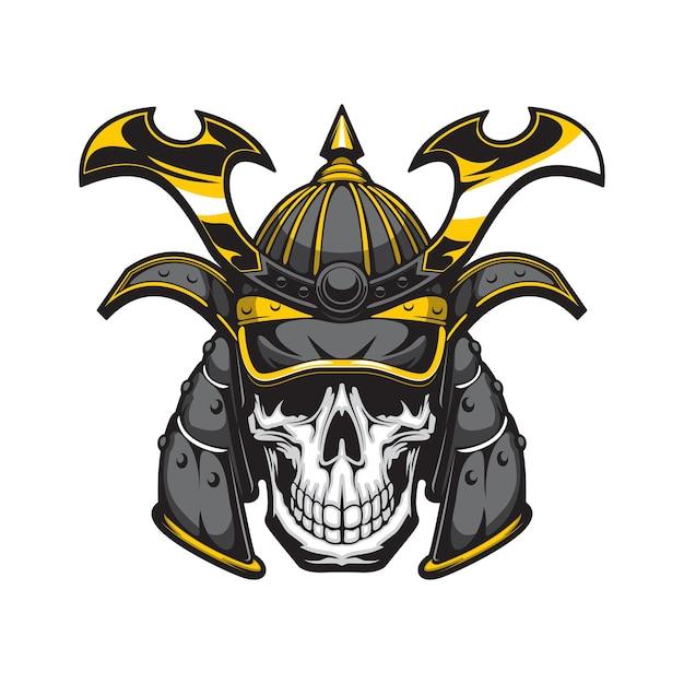 Crânio de samurai com mascote de capacete de guerreiro japonês
