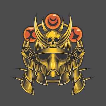 Crânio de samurai dourado