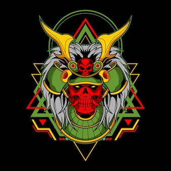 Crânio de samurai para uso comercial
