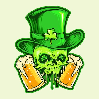 Crânio de são patrício com ilustrações de dois copos de cerveja