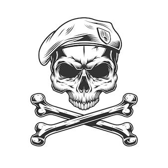Crânio de selo da marinha vintage em boina