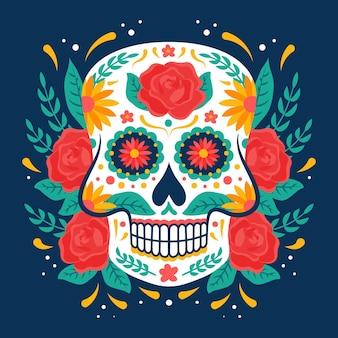 Crânio de smiley floral de vista frontal com fundo de diâmetro