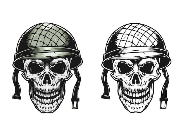 Crânio de soldado com capacete militar estilo vintage