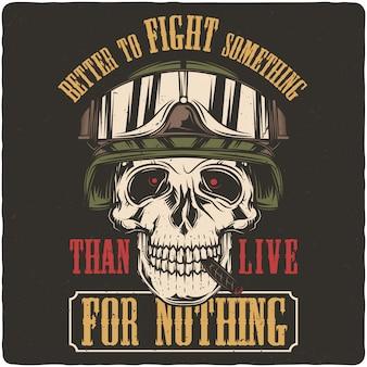 Crânio de soldado em um capacete