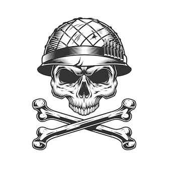 Crânio de soldado sem mandíbula no capacete