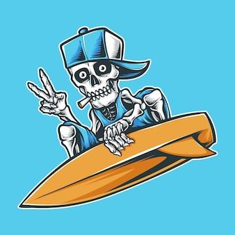Crânio de surfista com chapéu