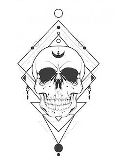Crânio de tatuagem com arte geométrica.